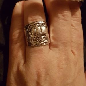 Elephant Relief Shape in Tibetan Silver Size 7Ring